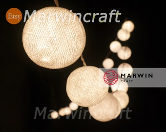 SALE 18% 4 Sets of 20 White Color Handmade Cotton Balls Fairy String Lights Party Patio Wedding Floor Table or Hanging Gift Home Decoration