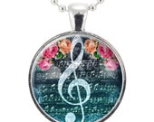 G-Clef Necklace, Music Note Jewelry, Gift Ideas For Music Lovers, Gifts For Music Teacher (1058S25MMBC)