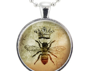 Queen Bee Necklace, Royal Crown Insect Art Pendant, Bee Jewelry (1088S25MMBC)