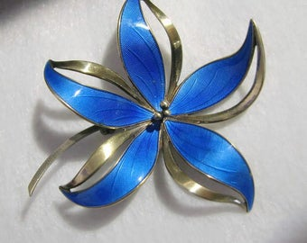 Vintage HROAR PRYDZ/NORWAY Guilloche Enamel and Sterling Dimensional Flower Brooch, Circa 1968