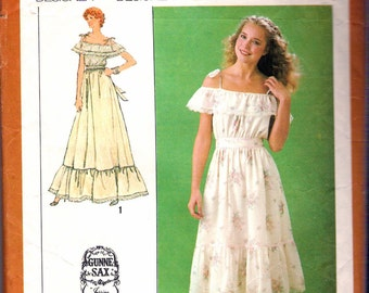"""Vintage 1979 Simplicity 9015 Gunne Sax Dress in Two Lengths Sewing Pattern Size 10 Bust 32 1/2"""""""