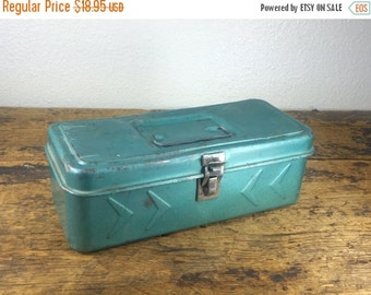 ON SALE SALE Turquoise Metal Tool Tackle Box