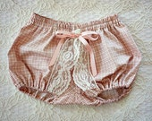 Vintage High Bloomer Shorts with Bow and Lace Pink for Baby or Girl