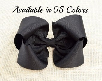 Black Hair Bow, Large Hair Bows, 5 Inch Hair Bows, Hair Bows, Girls Hair Bows, Big Hair Bows, Toddler Hair Bows, Barrette, Alligator Clips
