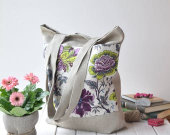Reusable Shopping Bag, Tote bag, market bag, Linen travel bag, canvas beach bags, Summer tote,  Linen shoulder bags