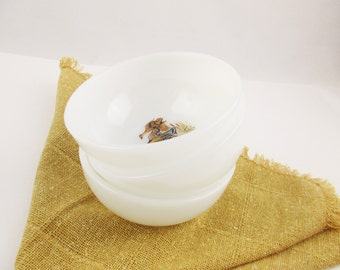 Three 'Sporting Birds'  Chili Bowls From Fire-King  - Milkglass Bowls - Hunter - Cabin - Country Kitchen - Collectible Fire King Bowls