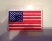 USA Embroidered Patch... Iron-On American Flag embroidery patch... United States of America... 3 by 1.75 inches