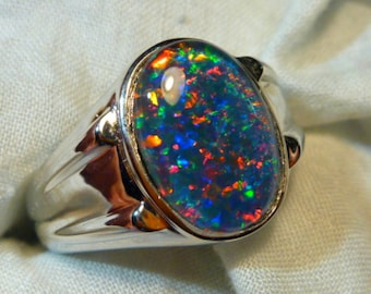 Mens Opal Ring Sterling Silver, Natural Opal Triplet. 14x10mm Oval . item 110237