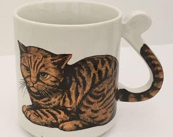 Vintage Tabby Cat Mug Cat Kitty Feline Friend Coffee Tea Mug Cup Japan