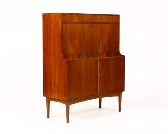 Danish Modern / Mid Century Teak Drop Front Secretary Desk / Cocktail Cabinet — H.P. Hansen