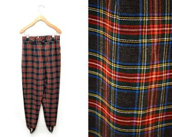 80s Plaid Stirrup Pants Soft Women's Medium