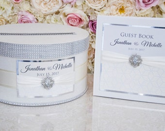 Wedding set - card box and guest book - IVORY