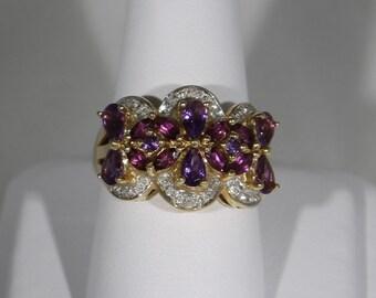 10K Yellow Gold Amethyst, Garnet, and Diamond Ring