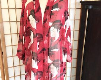 Vintage 90s Red Silk Chiffon Haori Kimono with Geishas