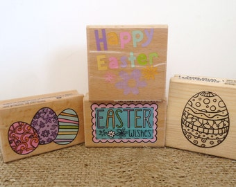 Easter stamps, Happy Easter card making supplies,  Easter egg stamps, paper craft supplies, scrapbooking supplies, 4 studio g rubber stamps
