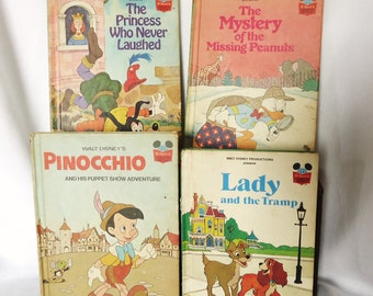 Vintage Disney Book Collection, Pinochio, Lady and the Tramp, Classic bedtime stories, Nursery decor, Childrens Books,