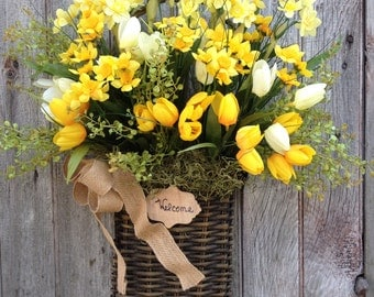 Daffodil Spring Basket, White Tulip, Welcome Spring Basket, Mother's Day, Front Door Decor, Spring Wreath. Wreath Alternative, Rustic Decor