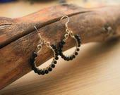 Wire Wrapped Hoops Black Agate Gemstone Boho