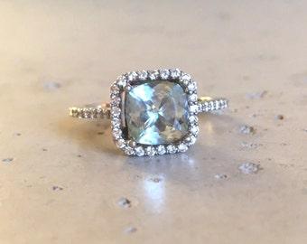 Aquamarine Cushion Cut Engagement Ring- Rose Gold Aquamarine Engagement Ring-Halo Aquamarine with Diamond Promise Ring- March Birthstone