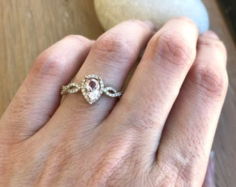 Pear Shape Engagement Ring- Morganite Promise Ring- Split Shank Morganite Ring- Morganite Anniversary Ring- Morganite Bridal Ring