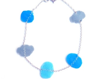 Silver bracelet and dissolve confetti-blue and grey