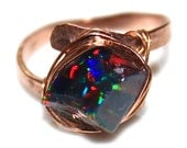 Raw Opal Ring Rose Gold Filled Ring Raw Opal Ring Freeform Ring Black Opal Jewelry Pink Gold Opal Black Opal Bright Ring Flashy Opal Ring