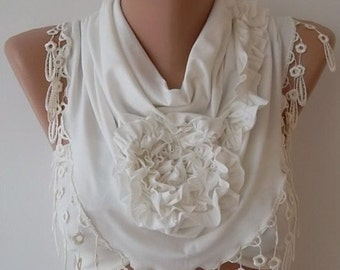 Creamy White Rose Scarf Christmas Gift Holiday Gift Scarf with Lace Edge Winter Women Fashion Accessories Christmas Gift For Her