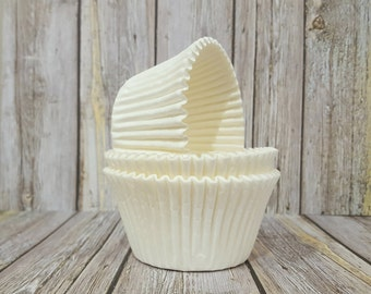 LARGE cupcake liners (50) count - white solid cup cake liners, baking cups, muffin cups, cupcake