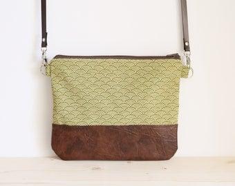 Seigaiha bag, green japanese handbag, green crossbody bag, green bag, shoulder bag, green clutch bag - Green Seigaiha