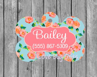 Personalized pet tag - Blue * Pink * Orange * Floral