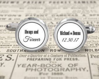 Always and Forever Wedding Cufflinks or Tie Clip - Custom With Names and Date - Choice of Size  Finish - 16mm, 20mm, or Stainless Steel