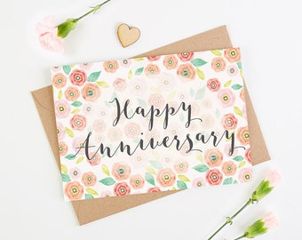 Anniversary Card Floral Bright