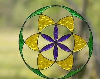 Hanging Suncatcher  Mandala  Seed of Life    color   Sacred geometry  yoga decor