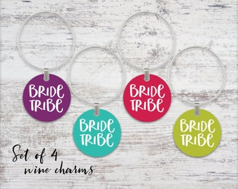 Bride Tribe Wine Glass Charms Set of 4 Wine Charms Metal Charms