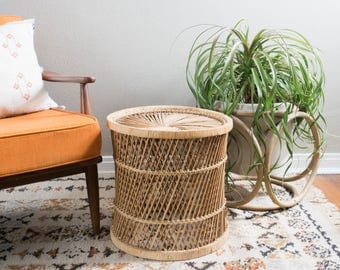Vintage Wicker Side Table Plant Stand Pedestal