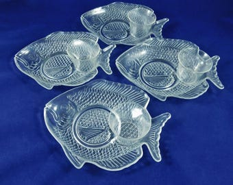 Fish Salad Dishes and Sauce Cups, 4 Sets, 8 Pcs, Shrimp, Salads, Snacks, Clear Plastic, Picnic, Patio Party, Beach Party