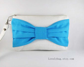 SUPER SALE - Personalized Clutch, Monogram Zipper Pull, Bridesmaid Gift - Ivory with Turquoise Bow Clutch - Made To Order