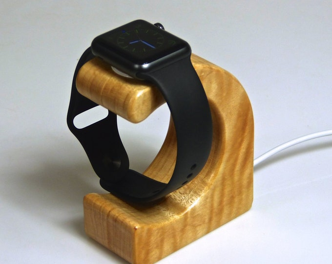 Apple Watch Stand - The WAVE in Maple -  Unique magnetic closure hides the cable! METAL charger only