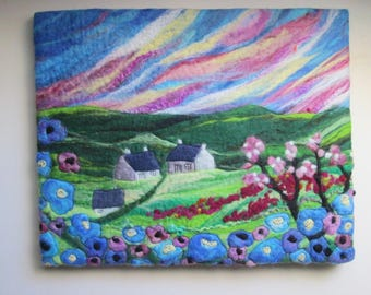 Textile wall art, wet felted picture, landscape at sunset