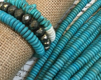 """Genuine Natural Turquoise Beads, 10mm x 3mm rondelle, turquoise heishi, gorgeous shades, 16"""" strand, turquoise rondelles, ~ 125 beads"""