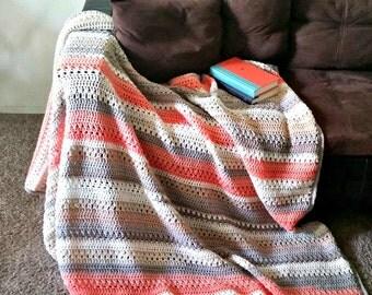 Modern Blanket Afghan Throw - Color Block Throw - Multi-Color Throw - Beige - Orange - Browns