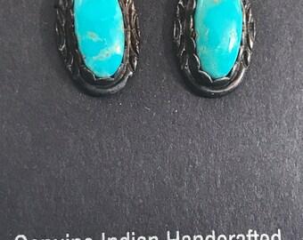 SALE Vtg New Old Stock Navajo Kingman Turquoise Earrings