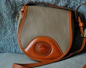 Dooney and Bourke Saddlebag All weather leather slate and british tan