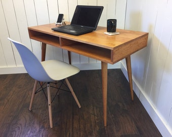 Boxer mid century modern desk with storage, solid cherry with tapered McCobb legs.