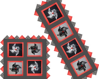 3-D Black- White Posie Pinwheels & Prairie Points Table Runner Laser Cut Kit