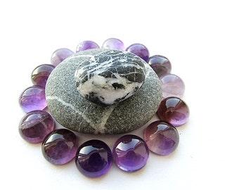 3pcs Natural Amethyst Cabochon 10 mm Round Amethyst Cabochon Purple Gemstone Cabochon Amethyst Flat Back Supplies (3)