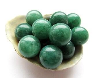 10pcs Natural Green Jade Beads 14mm Emerald Green Jade Gemstone Semiprecious Stone Beads Jewelry Supplies (10)
