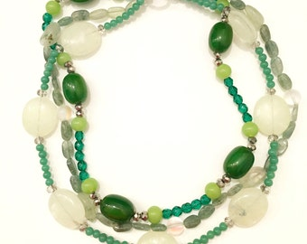 Multi-strand green quartz necklace with labradorite and mystic moonstone beads.