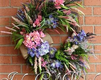 Coastal Wreath, Summer Wreath, Sunset at the Cliffs of Moher, Ireland Wreath, Beach decor, floral nautical decor,  Mother's Day Wreath