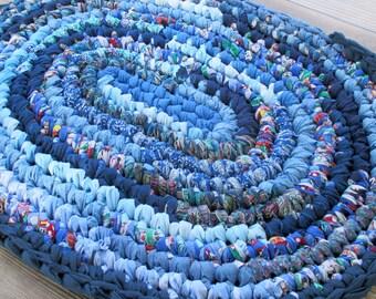 Thick Bath Mat - Rag Rug - Blue Oval Rug for Kitchen - Handmade Home Decor - Rug for Teen's Room - Kid's Bedroom Floor - Nursery Accent